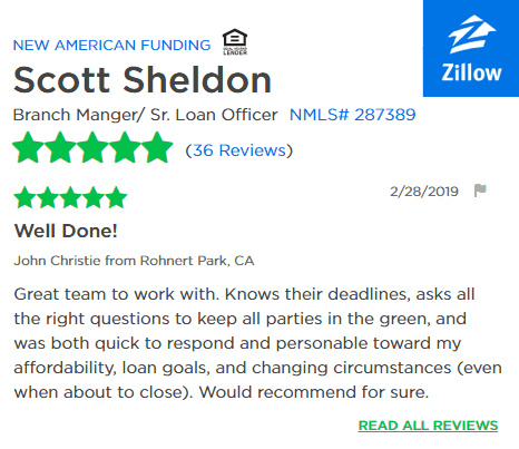 Zillow Reviews for Scott Sheldon, New American Funding